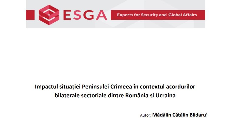 Impactul situației Peninsulei Crimeea în contextul acordurilor bilaterale sectoriale dintre România și Ucraina